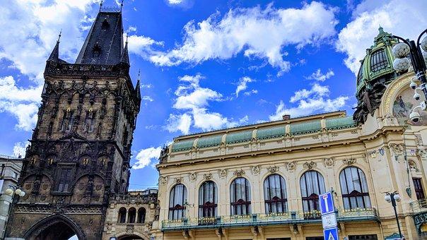 Architecture, Travel, Old, Sky, Powder Tower, Prague