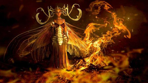 Fantasy, Fire, Fee, Elf, Mystical, Surreal, Magic