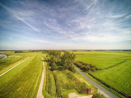 Aerial, Field, Grass, Hayfield, Agriculture, Landscape