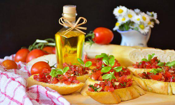 Bruschetta, Bread, Baguette, Tomatoes, Basil, Onion