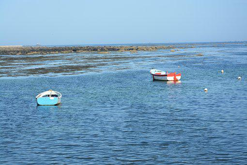 Boats Floating, Panoramic Views, Sea, Blue Water
