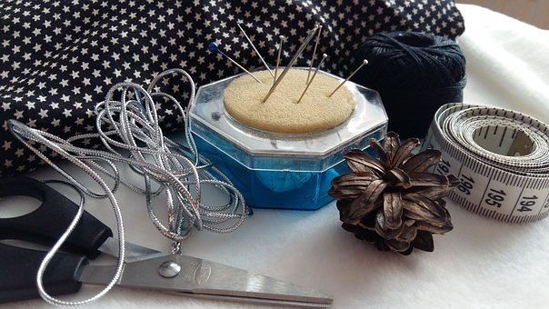 Sewing, Needle, Pin, Measuring Tape, Thread, Scissor
