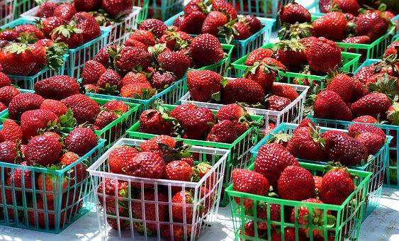 Market, Food, Fruit, Strawberry, Basket, Supermarket