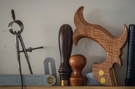 Saw, Hammer, Wood, Vintage, Workshop, Awl, Tool, Tools