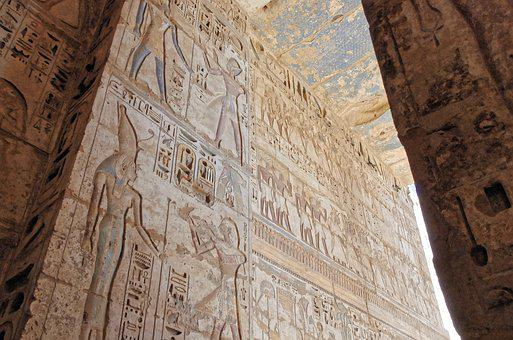 Egypt, Thebes, Medinet-habu, Temple, Hieroglyphs, Color