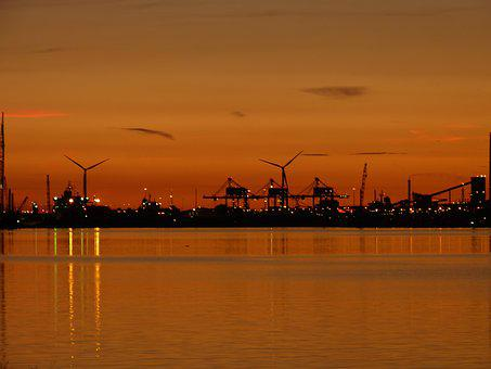Sunset, Waters, Industry, Energy, Mill, Evening, Sky