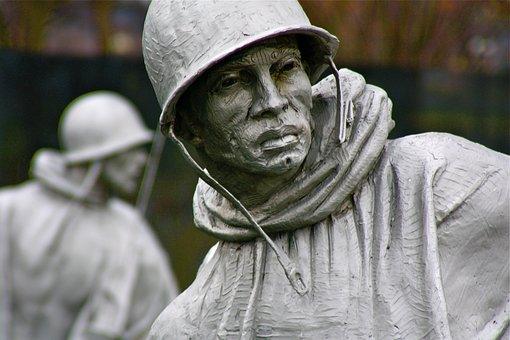 People, Man, Korea War Memorial, Washington, Soldier