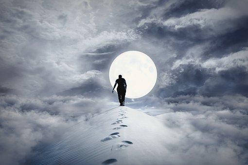 Mati, Sky, Moon, Clouds, The Fog, Glow, Posrać, Fog