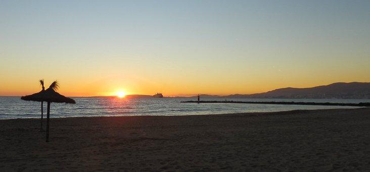 Sunset, Dawn, Sun, Waters, Nature, Ocean, Equanimity