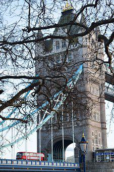 London, Tower Bridge, Bus, Red, Spring, Journey