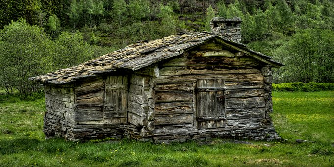 Tree Log, Rustic, Wooden, House, Old