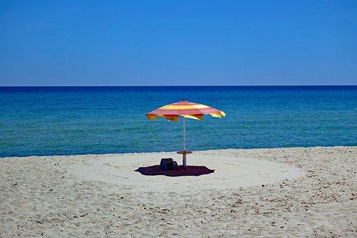 Parasol, Sardinia, Sand, Beach, Ease, Summer