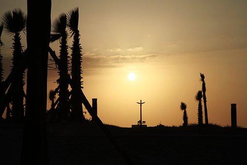 Silhouette, Sunset, Backlit, Sea, Solar, Sky