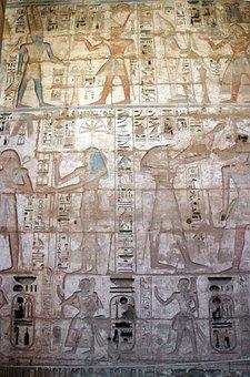 Egypt, Thebes, Medinet-habu, Temple, Hieroglyphs
