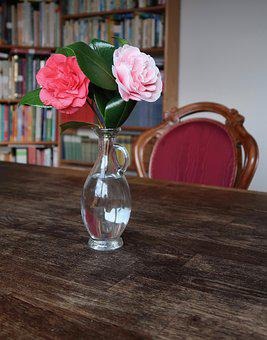 Table, Glass, Vase, Background, Wooden Table