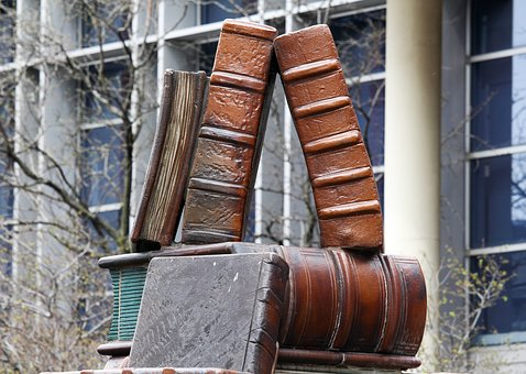 Statue, Big, Books, Metal, Wood, Old, Wooden