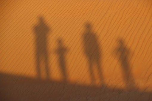 Desert, Sand, Silhuette, Sandy, Family