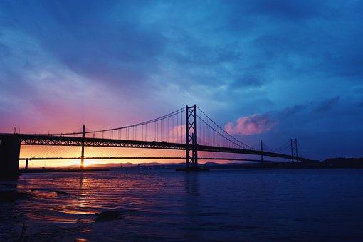 Bridge, Suspension Bridge, Sunset, Water, Dusk