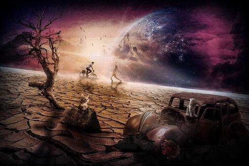 Planet, Cat, Space, Mystical, Fantasy