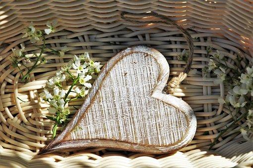 Heart, Wooden, Flowers, Spring, Feeling, Emotions