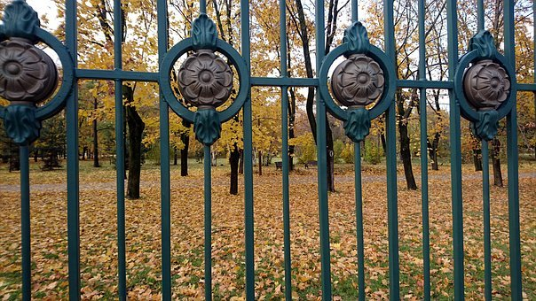 Fence, Iron, Autumn, Garden, Metal, Beautiful, Forging