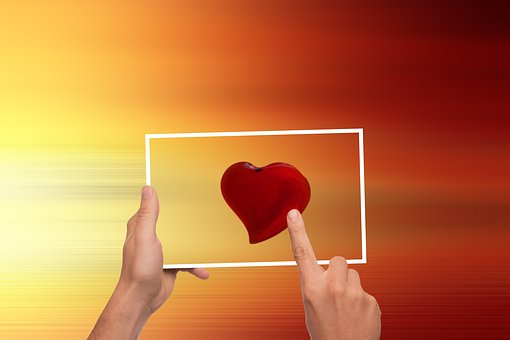 Heart, Love, Valentine's Day, Tablet, Finger, Touch