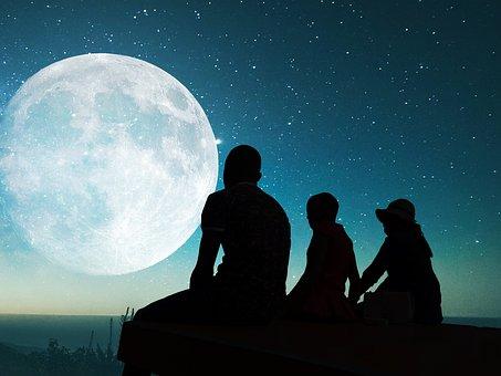 Moon, Sky, Twilight, Cut, Darkness, Evening, Outdoor