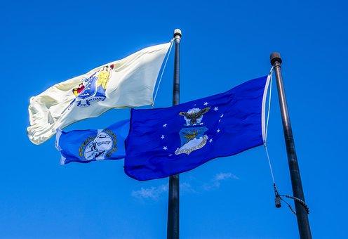 Sky, Flags, Veteran, Pole, National, Patriotism