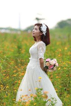 Nature, Summer, Dress, Wedding, Bride, Lovely, Cute