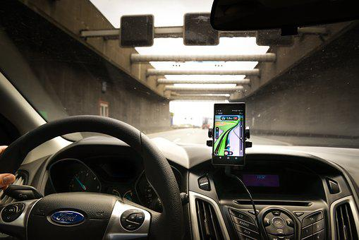Navigation, Car, Phone, Tunnel, Traffic, Vehicle