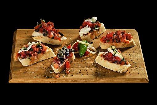 Food, Bruschetti, Restaurant, Plate, Board, Bruschetta