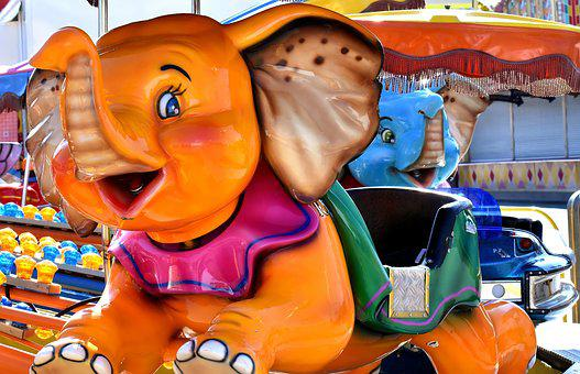 Carousel, Ride, Elephant, Colorful, Year Market
