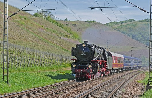 Steam Locomotive, Vineyards, Saar Valley, Saarburg