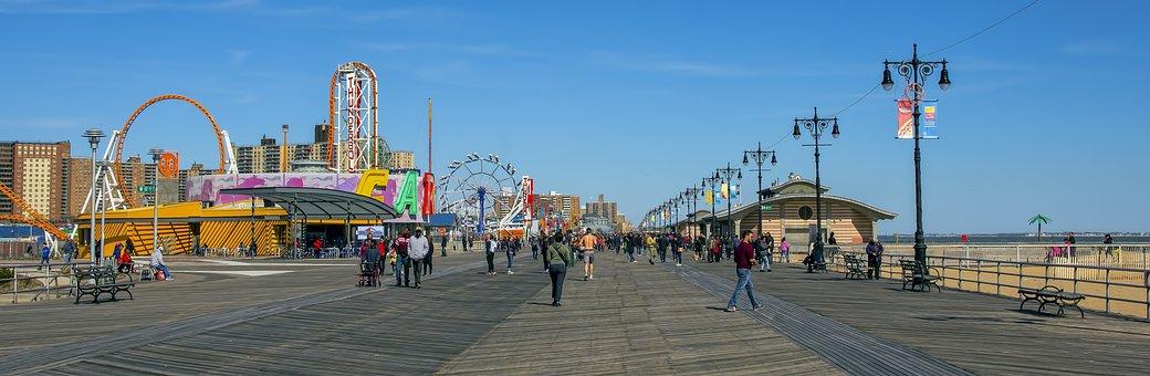Panoramic, Sky, Street, City, Travel, New York