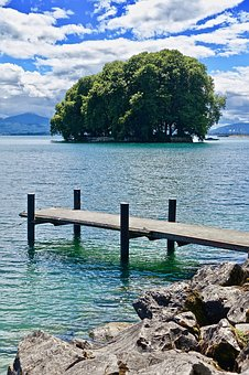 Island, Pier, Water, Nature, Summer, Sea, Travel