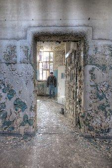 Old, Abandoned, Architecture, Wall, Asylum, Man, Urban