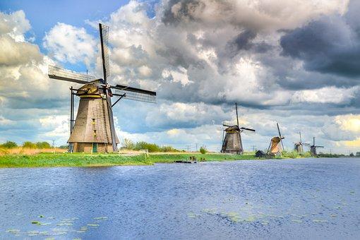 Kinderdijk, Dutch, Netherlands, Tourism, Wind, Windmill