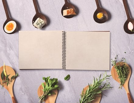 Menu, Notebook, Background, Spices, Wooden Spoon, Herbs