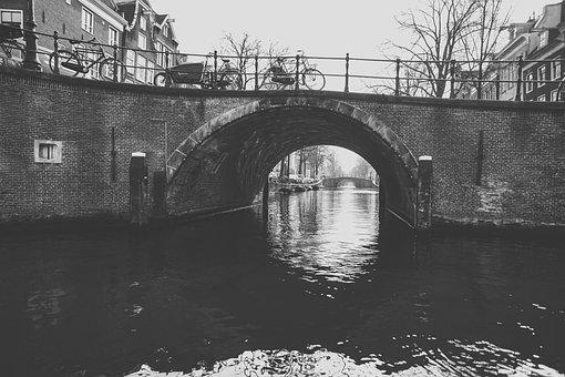 Bridge, Body Of Water, River, Monochrome