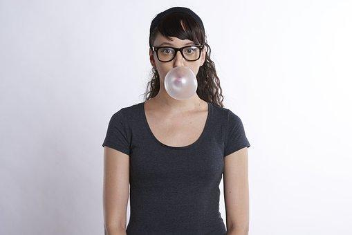 Woman, Gum, Bubble, Bubblegum, Blowing, Blow, Young