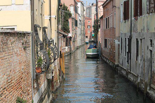 Street, Canal, Narrow, Architecture, Town, City, House