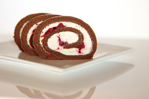Roll, Baked, Buns, White, Cream, Cherry, Chocolate Roll