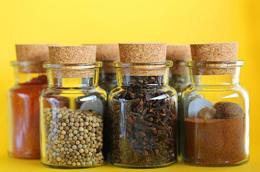 Spices, Set, Yellow Background, Bank, Glass, Container