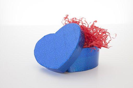 Desktop, Color, Gift, Blue, Heart Shape, Box