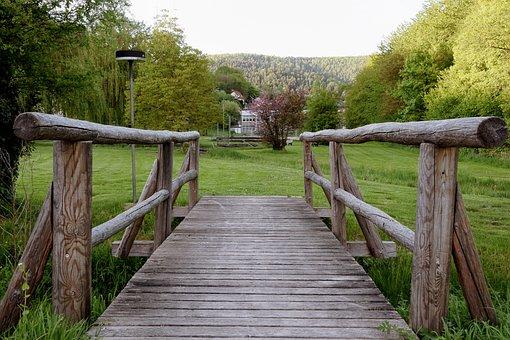 Wooden Bridge, Strains, Idyllic, Bridge, Nature, Spring