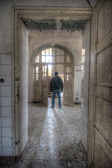 Architecture, Asylum, Abandoned, Man, Standing