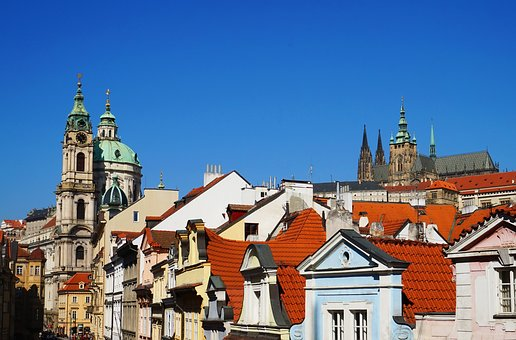 Panorama, Prague, Czechia, Architecture, Old, Church