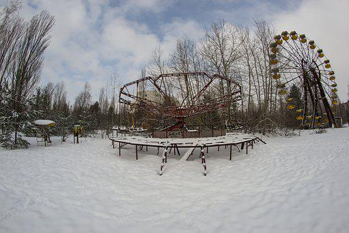 Pripyat, Carousel, Ferris Wheel, Snow, Theme Park