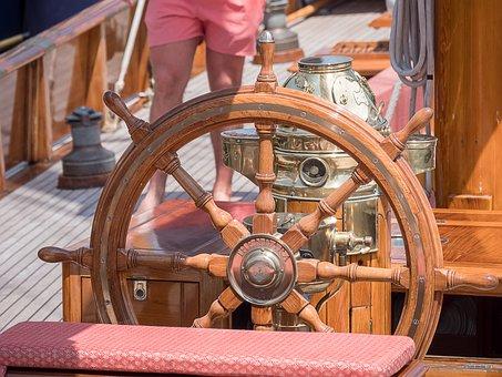 Wheel, Wood, Rudder, Sailboat, Boat, Yacht, Summer