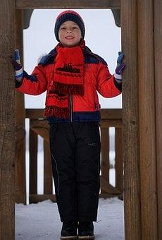 Winter, Snow, Baby, Coldly, Outdoors, Park, Boy